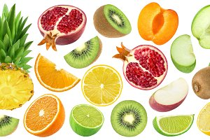 Set of cut fruits isolated on white background