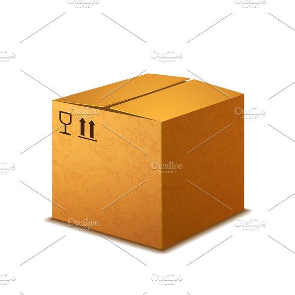 Bright Realistic Cardboard Box