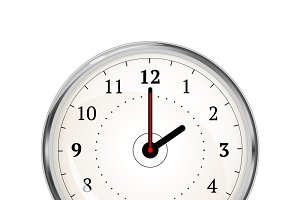 Realistic clock face showing 02-00