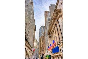 Buildings on Wall Street in Manhattan, New York City