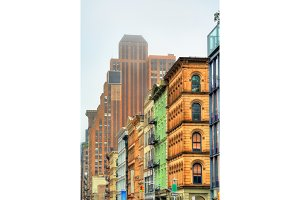 Old buildings on Broadway in New York City