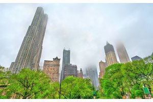 Skyscrapers of Manhattan in the fog - New York City
