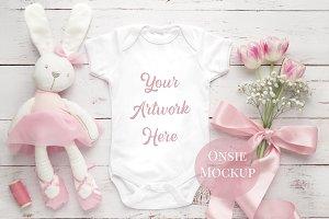 White Baby Onsie Mockup- Pink