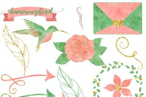 Pink & Mint Watercolor Hummingbird