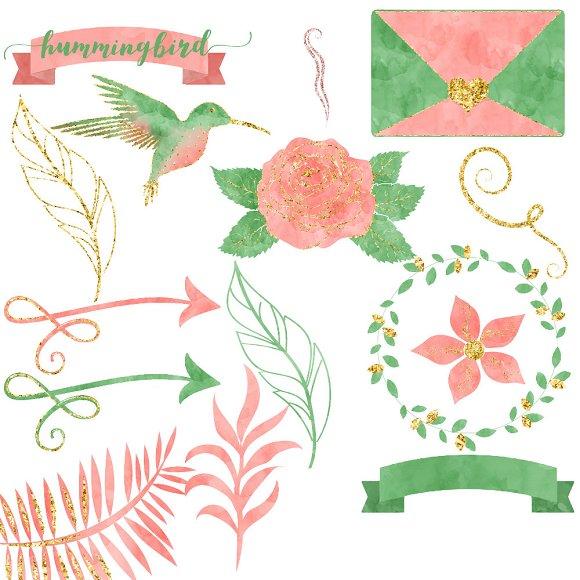 Pink & Mint Watercolor Hummingbird