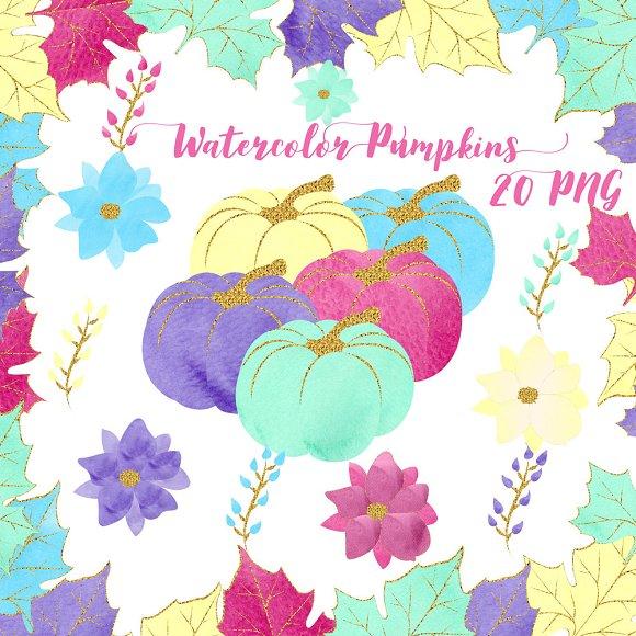 Watercolor Glitter Pumpkins Clipar