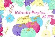 Watercolor & Glitter Pumpkins Clipar