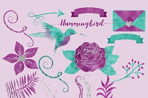 Purple & Teal Hummingbird Clipart