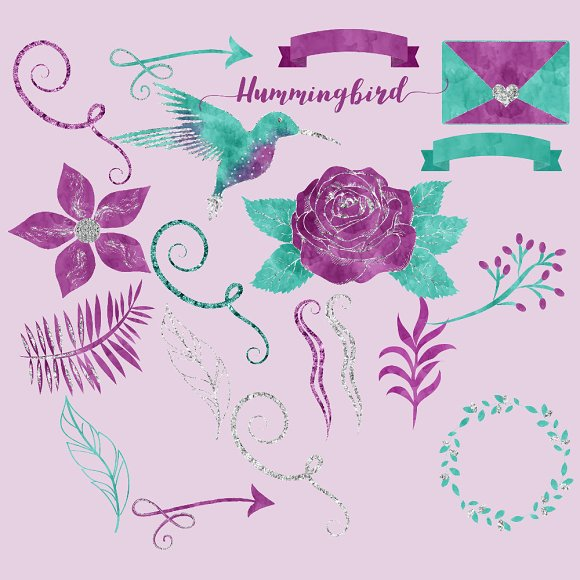 Purple Teal Hummingbird Clipart