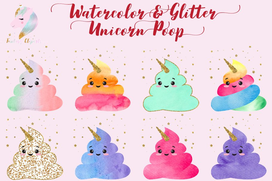 Watercolor Unicorn Poop Clipart in Illustrations - product preview 8