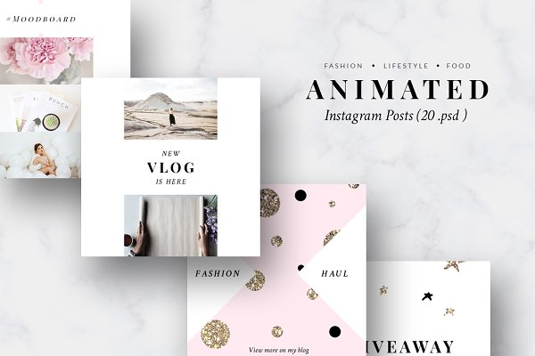 ANIMATED Instagram Posts-Pink & Gol…