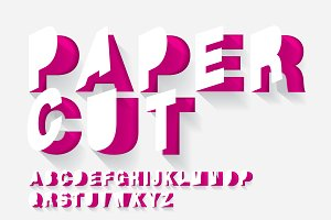 paper cut typography design vector
