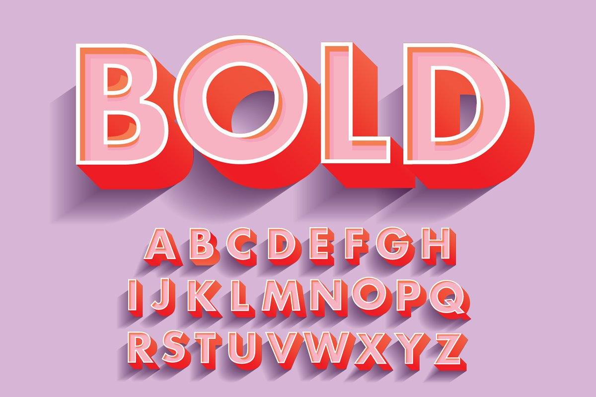 bold 3d typography design