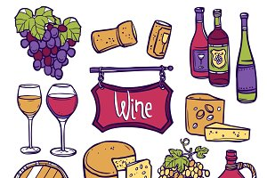 Wine decorative icon set