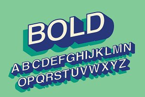 bold 3d typography design vector