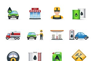 Gas and petrol station icons set