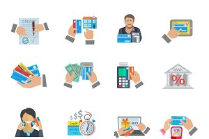 Credit life finance icon flat set