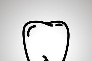 Simple black human teeth icon