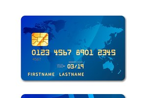 Blue realistic credit card
