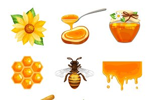 Honey isolated cartoon icon set