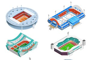 Sport stadium isometric icons set