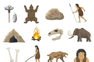 Stone age color icons set