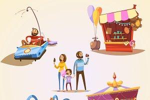 Amusement park cartoon set