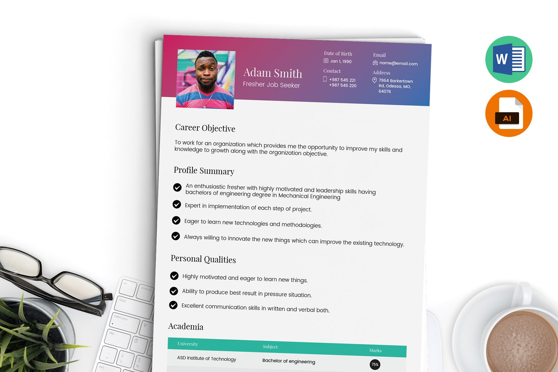 Fresher Resume Template Word Ai Creative Illustrator Templates Creative Market