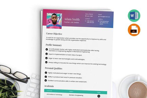 Fresher Resume Template Word Ai Creative Illustrator Templates