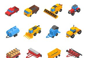 Agricultural machines isometric icon