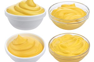 Cheese sauce collection. Set of fat mayonnaise isolated on white background