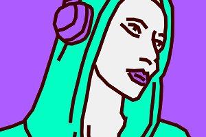 Fashion DJ girl. Music vibes. Sketch