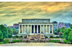 The Lincoln Memorial, an American national monument in Washington, D.C.