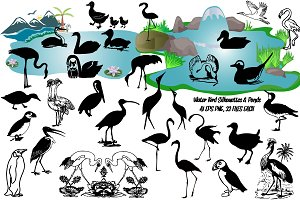 Water Birds Silhouettes AI EPS PNG