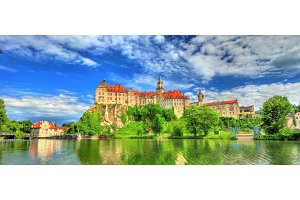 Sigmaringen Castle on a bank of the Danube River in Baden-Wurttemberg, Germany