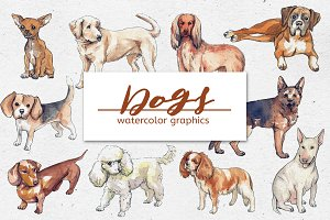 Bundle of Watercolor DOG Graphics