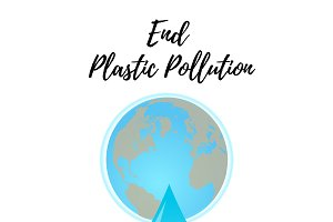 End Plastic Pollution. Vector.
