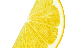 Lemon fruit slice isolated on white
