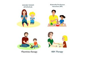 Vector set with the main methods of autism correction. ABA, flootime, RDI, and son-rise therapy.