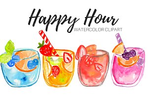 Watercolor Drinks Cocktail Clipart