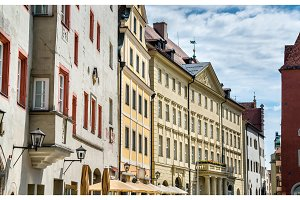 Buildings in the Old Town of Regensburg, Germany