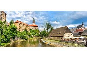 View of Cesky Krumlov town, a UNESCO heritage site in Czech Republic