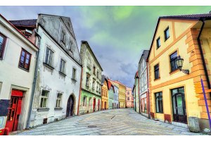 Houses in the old town of Jindrichuv Hradec city, Czech Republic