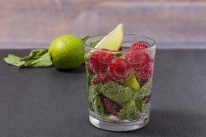 Raspberry lemonade with lime