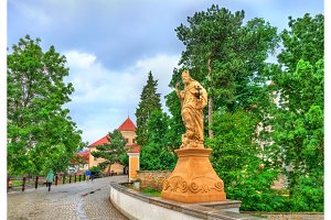 Statue on the bridge in Telc, Czech Republic