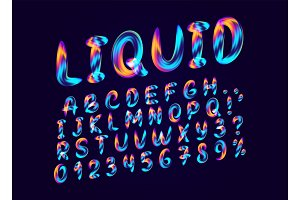 Fluid colored letter. Alphabet font of melting liquid.