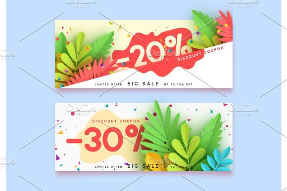 Horizontal Sale Banner Border Discount Coupon Cards Headers Website