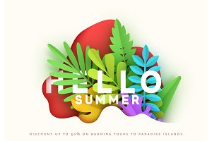 Summer card design, bright illustration with leaves of different colors.