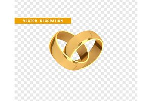 Golden wedding rings, realistic design isolated on transparent background