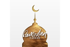Ramadan greeting card with calligraphy Ramadan Kareem.